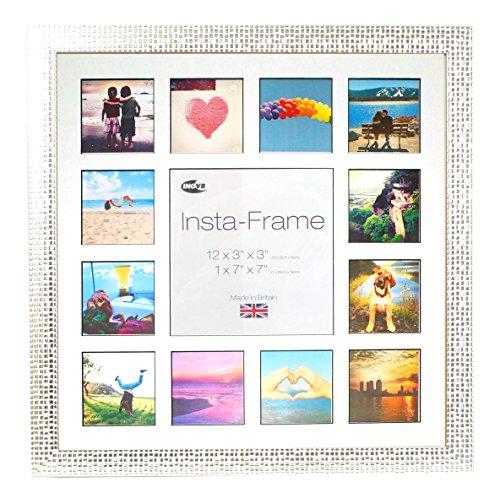 """Inov8 Bilderrahmen, Wechselrahmen """"Insta-Frame"""", für 13quadratische/Instagram-Fotos, mit weißem Passepartout und schwarzem Hintergrund, 40,6x 40,6cm, silberfarbenes Mosaik"""