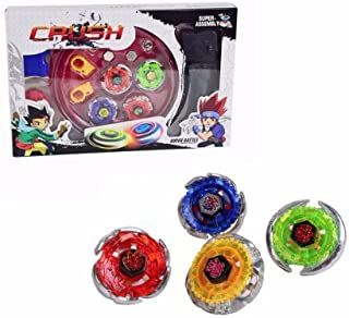 Crush Battling Blades Game Tops Metal Fusion Starter Set (4 Bey Tops +2 Launchers +4 Tips +2 Bolts +1 Grip +1 Arena)