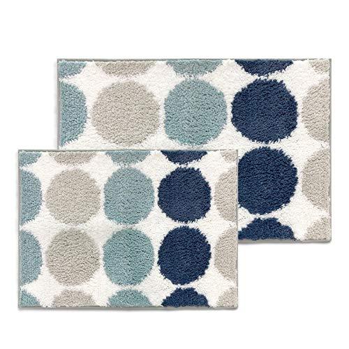 Sunlit 2 Pieces Bathroom Rugs Set, Non-Slip Absorbent Soft Shaggy Farmhouse Bath Mat, Floor Mat Dry Fast Machine Washable. Blue Teal Beige Polka Dot (20'x30'&17'x24')