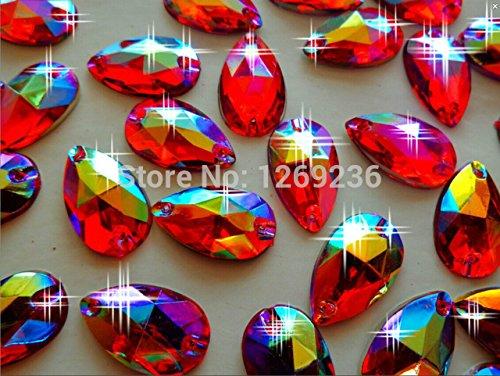 Perles à coudre Cristaux Couleur Rouge AB 11x 18 mm forme de goutte Strass accessoires main couture pierres 150pcs/lot