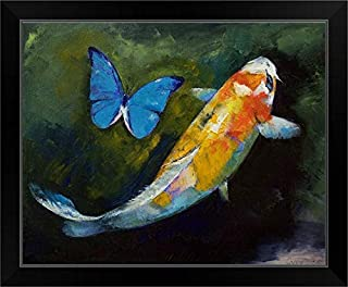 CANVAS ON DEMAND Kujaku Koi and Butterfly Black Framed Art Print, 23