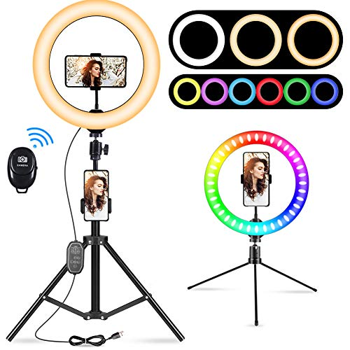 """10.2"""" Selfie Ring Light with Tripod Stand - Dimmable RGB Ring Light LED Circle Lights Halo Lighting with Stand & Phone Holder for Live Steaming Make Up Vlogging Video, Compatible for iPhone Android"""