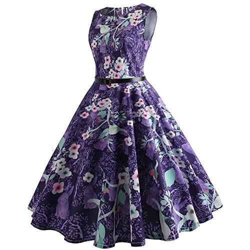 COZOCO Vestido de Verano para Damas Flor Púrpura Rama Hoja Verde Moda Primavera Verano Vestido Falda de...