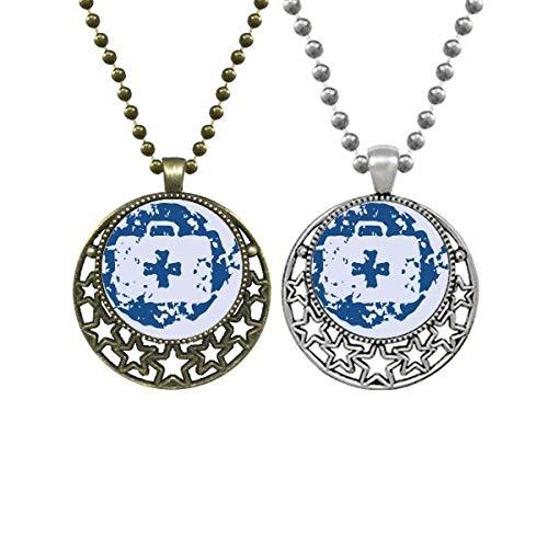 Kit de premiers secours bleu avec pendentif rond et illustration pour amoureux Collier rétro lune étoiles Bijoux