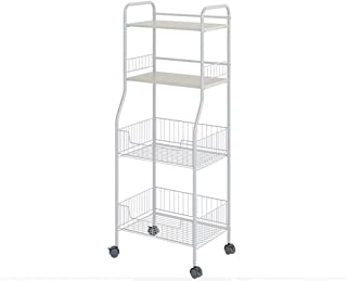 Kitchen Storage Trolley, 4-Tier All Purpose Mobile Carbon Steel Fruit Vegetable Racks Rolling Cart with 2 Mesh Baskets Loc...