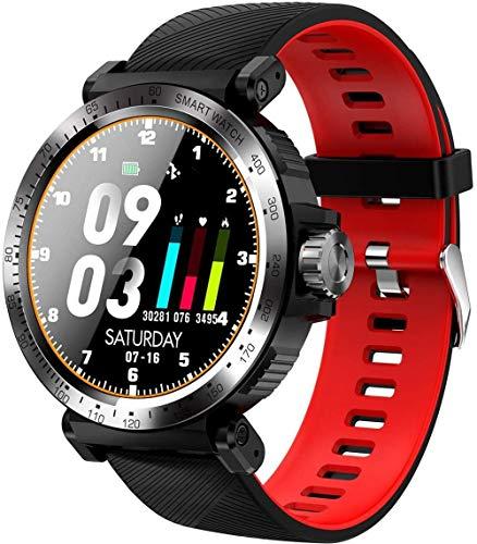JSL Reloj deportivo inteligente para mujeres y hombres, Android Fitness Trackers al aire libre Senderismo Correr Digital Reloj de pulsera impermeable Bluetooth Actividad Tracker Smart-Red