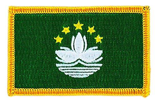 Aufnäher Patch bestickt, Flagge Macau BW backpack Stickerei zum Aufbügeln