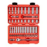 TEKTON 3/8 Inch Drive 6-Point Socket & Ratchet Set, 47-Piece (5/16 - 3/4 in., 8 - 19 mm) | SKT15301