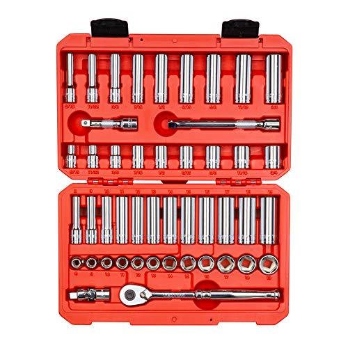TEKTON 3/8 Inch Drive 6-Point Socket & Ratchet Set, 47-Piece (5/16 - 3/4 in., 8 - 19 mm) | SKT15301