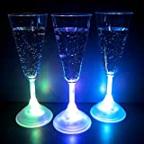 Light Up Champagne Glasses (Set of 6) - 7 oz LED Glowing Champagne Flutes with 8 Color Modes