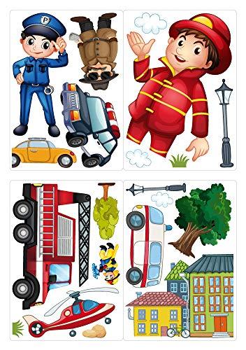 dekodino® Fenstersticker Kinderzimmer Feuerwehr und Polizei