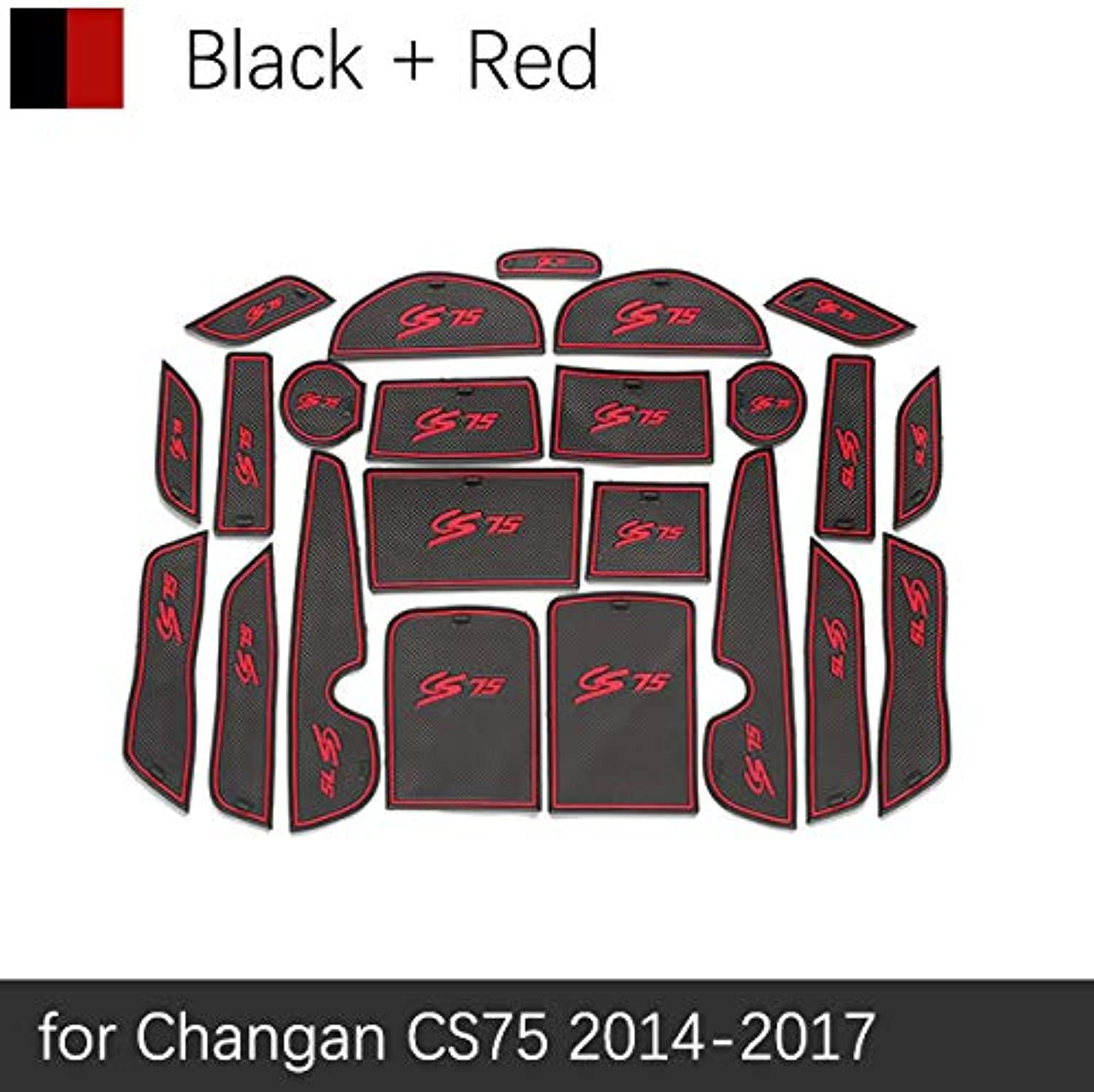 AntiSlip Gate Slot Mat Rubber Cup Mats for Changan CS75 20142017 Accessories Stickers 2014 2015 2016 2017 NonSilp Pad 23PCS  (color Name  Red Black)