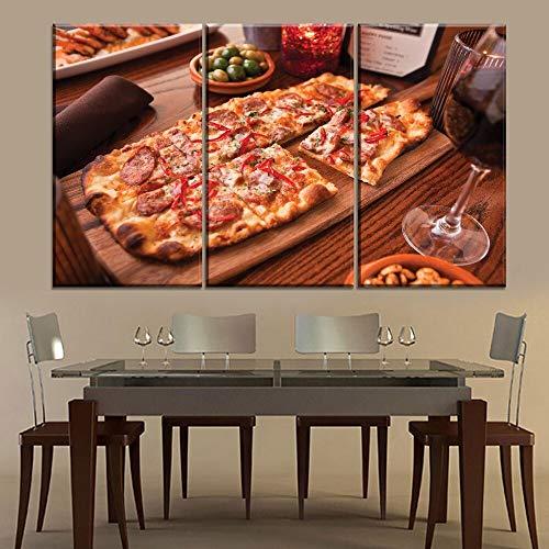 RHBNVR HD-print canvas schilderij restaurant pizza winkel wanddecoratie 3 panelen lekker eten pizza rode wijn moderne canvas print grafische print