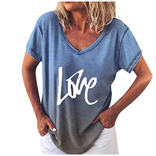 ZEFOTIM Short Sleeve Tops,Women Casual Summer Solid V-Neck Letter Print Plus Size Funny Tops T-Shirt Blouse Tunic(F-Blue,5X-Large)