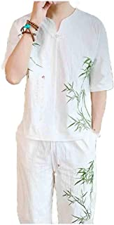 Andopa Men's Cotton Linen Summer 2 Piece Set Embroidered Blouse Top+Pants Set
