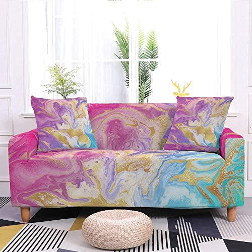 Fundas elásticas para sofá, fundas elásticas impresas, diseño abstracto dorado rosa y morado, tela elástica de poliéster duradera, antideslizante, funda universal para sofá, 4, 235, 300 cm