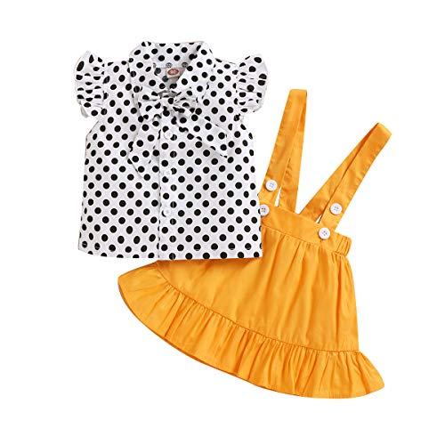 DaMohony - Juego de ropa para niños y niñas con lunares y falda de tirantes (2 unidades)