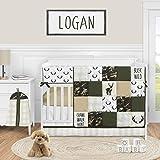 Sweet Jojo Designs Woodland Camo Deer Baby Boy Nursery Crib Bedding Set - 5 Pieces - Green Beige and Black Rustic Camouflage Buffalo Plaid Check