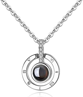 I Love You Necklace, 925 Sterling Silver 100 Languages Projection on Round Onyx Pendant Loving Memory Collarbone Necklace 1 Pcs