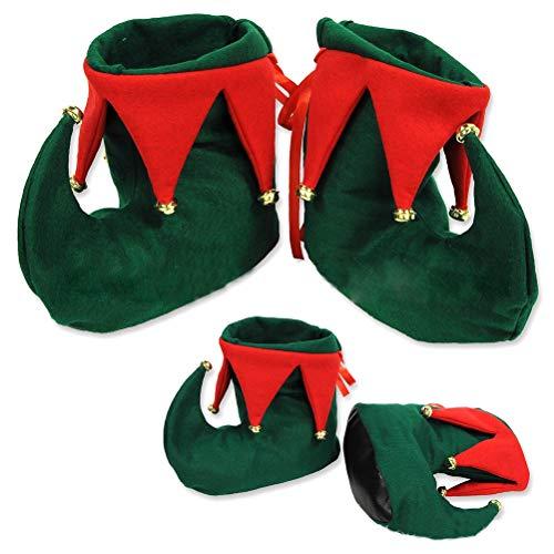 Deeabo Botas De Duende De Navidad Zapato De Duende No Tejido Unisex Botas De Ayudante De Santa Rojo Verde Accesorio De Disfraces De Navidad Para Festivales Fiesta De Disfraces Cosplay, 27 * 31 * 8cm