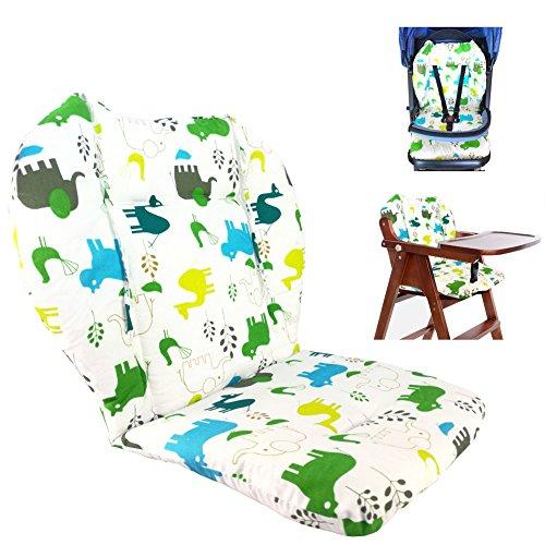 Cojín de la silla alta, Amcho Cochecito de bebé / Trona / Cojín del asiento de coche Película protectora Respirable Cojín de la silla alta (Elefante verde)