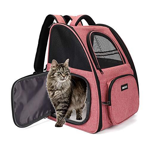 FREESOO Hunderucksack Katzenrucksack Rucksäcke für Kleine Hunde und Katzen, Haustiere Tragetasche Transportbox Katze Faltbare Transporttasche Hundehütte Atmungsaktive Reisetasche (Max. 6KG) Pink