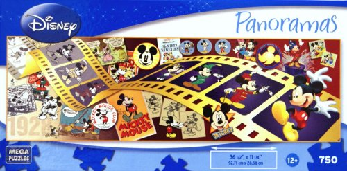 DISNEY Panoramas Mickey Through The Years 750 Piece Puzzle by Mega Brands