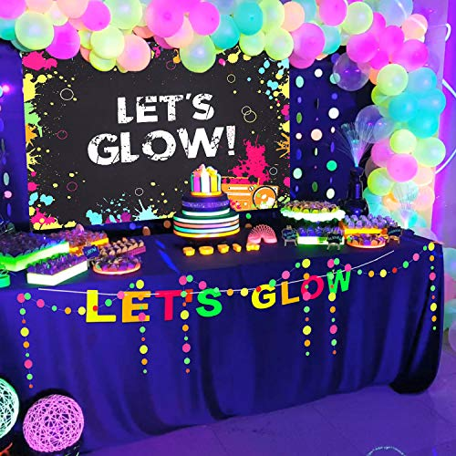 43 Pieces Glow Party Supplies Neon Party Decoration Set Include Glow Party Themed Backdrop Let's Glow Banner Circle Dot Garland and 40 Pieces Colorful Glow Party Balloons for Birthday and Glow Party