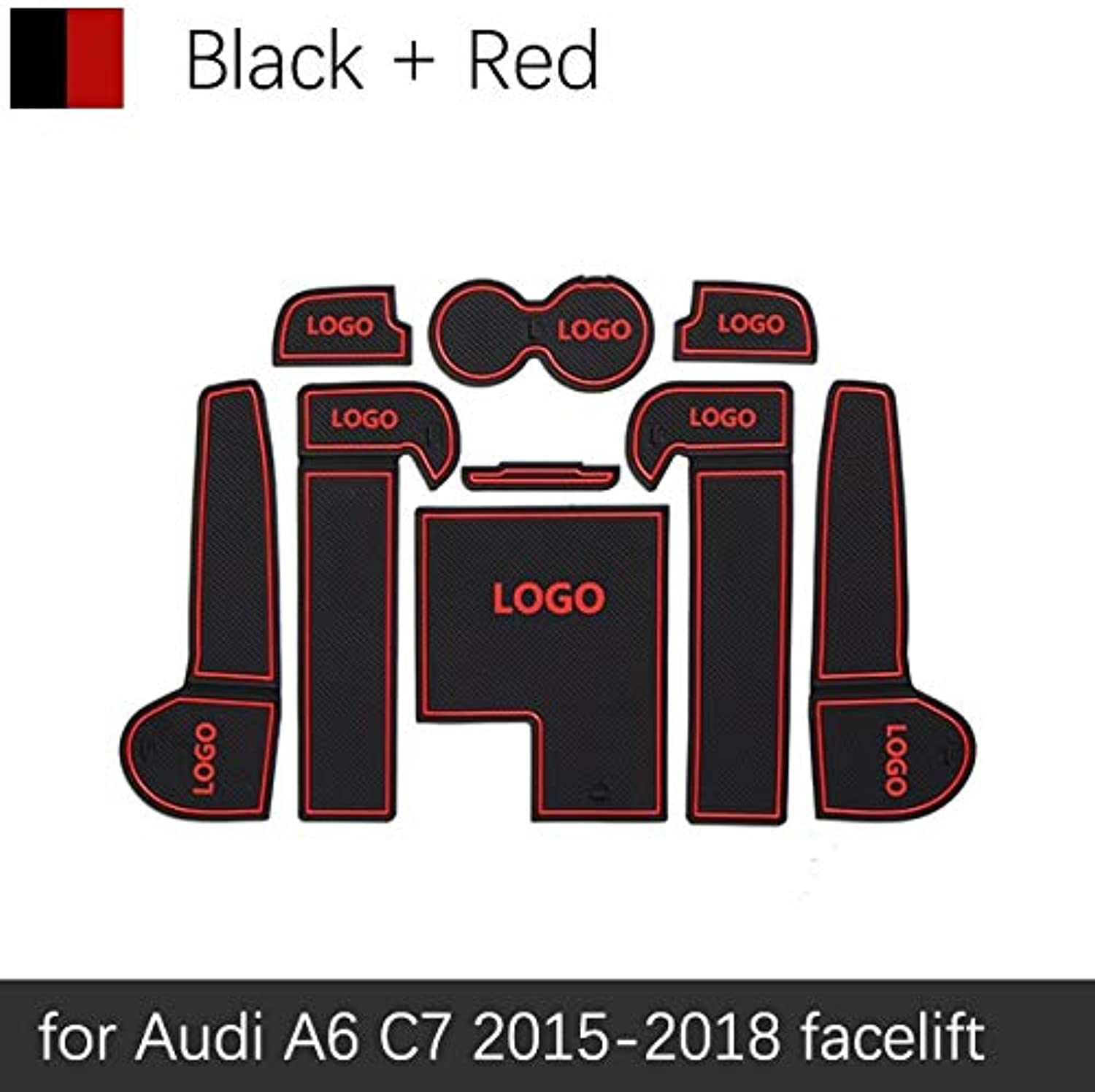 AntiSlip Rubber Gate Slot Cup Mat for Audi A6 C6 20052011 4F A6 C7 20112018 4G SLine SLine S6 RS6 Accessories Stickers  (color Name  Red A6 C7 1518)