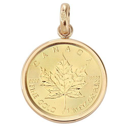 純金 カナダ メイプルリーフ エリザベス 金貨 1/10oz コイン ペンダントトップ K18 シンプル枠