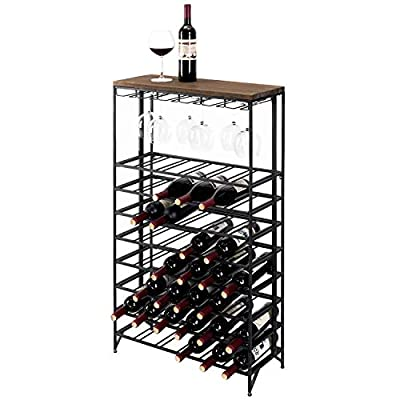 Deluxe 54 Bottle Large Foldable Metal 9 Tier Wine Connoisseur Rack Cellar Storage Display Stand