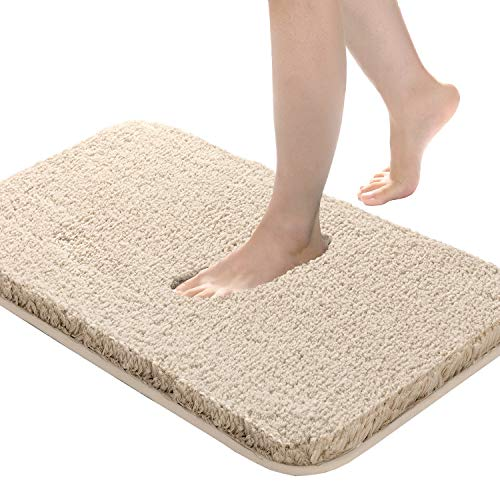 Bathroom Rug Non Slip Bath Mat for Bathroom, 20'x32', Water Absorbent Soft Microfiber Shaggy Bathroom Mat Machine Washable Bath Rug for Bathroom Thick Plush Rugs for Shower, Beige