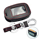 SEFKVP Leder Autoschlüsseletui.Für StarLine B92 B62 B64 B95 Zweiwege-Autoalarm LCD-Fernbedienung Schutzabdeckung Schlüsselbund mit Schlüsselring
