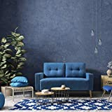JUMMICO Modern Loveseat Sofa Fabric Couch Mid Century Love Seat with 2 Thickened Cushion and Solid Wood Frame for Living Room (Blue)
