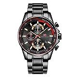 Mini Focus - Reloj de pulsera para hombre, resistente al agua, de acero inoxidable, analógico, de cuarzo, para hombre, negocios, casual, cronógrafo, fecha, militar, color negro