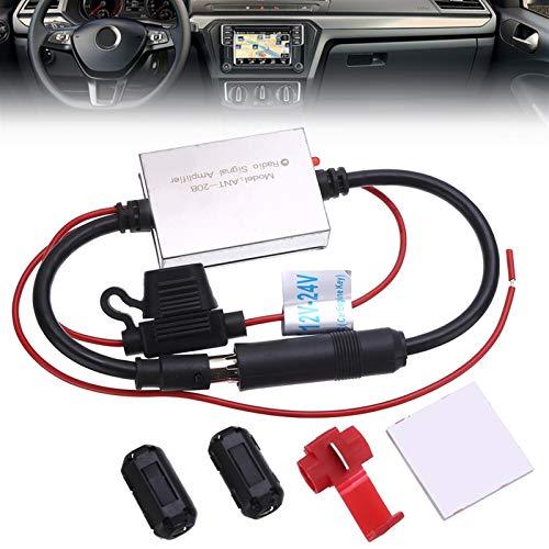 Antena de la radio del coche Antena anti-interferencia Radio 1PC Amplificador de señal FM FM BOOSTER 88-108MHZ para piezas exteriores de automóviles