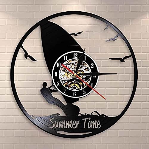 Nzlazbc Reloj de Pared para Sala de Deportes, Reloj de Verano, decoración de Pared para Windsurf, Windsurf, Reloj con Disco de Vinilo, Regalo para Amantes de los Deportes acuáticos Extremos