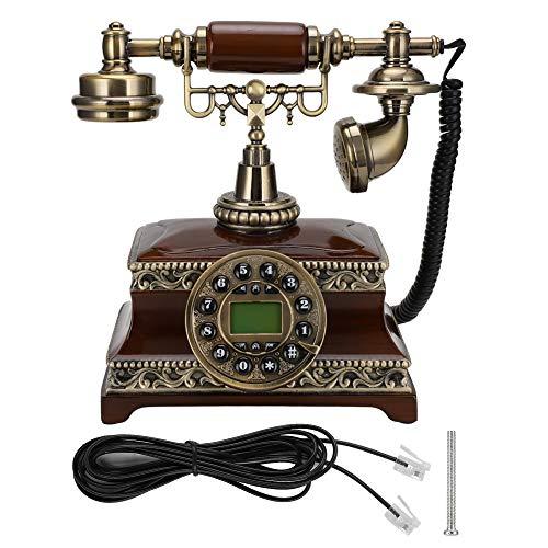 Plyisty Teléfono Retro Fijo Digital Retro con Sistema Dual FSK/DTMF, teléfono de Madera Maciza, Pantalla de identificación de Llamadas para decoración del hogar y la Oficina