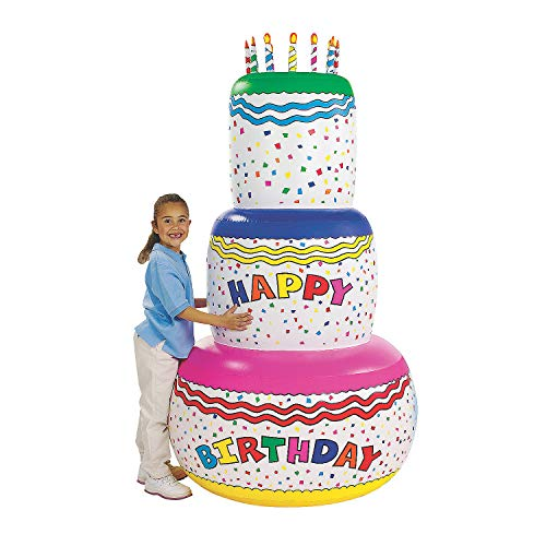 Giant Inflatable Birthday Cake Party Decoration (6 feet Tall) Make a Big Impression with This Special Party Decor