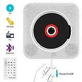 VIFLYKOO - Lettore CD, Bluetooth, montaggio a parete, con telecomando, 2 altoparlanti HiFi integrati, radio FM, presa per cuffie MP3,3,5 mm, per studente e genitori, colore: bianco