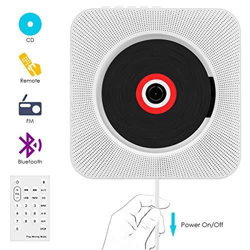 CD Player, Bluetooth wandmontierbar CD Radio Musik Player mit Fernbedienung, Eingebauter 2 HiFi-Lautsprecher, FM-Radio,MP3,3.5mm Kopfhörerbuchse für Kinder Student und Elder - Weiß