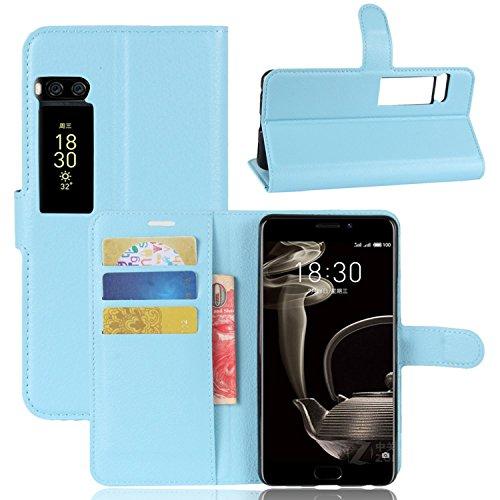 Ycloud Tasche für MeiZu Pro 7 Plus Hülle, PU Kunstleder Ledertasche Flip Cover Wallet Case Handyhülle mit Stand Function Credit Card Slots Bookstyle Purse Design blau