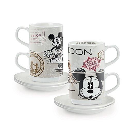 Egan PWM02I/LO - Juego de Tazas de café, Modelo en The City Londres, Porcelana, Multicolor, 4 Unidades