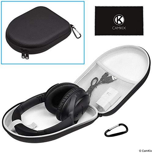 CamKix Custodia Protettiva per Cuffie Bose Around-Ear QuietComfort/SoundTrue/SoundLink Headphones - Mesh Pocket - Dual Zipper and Carabiner - Models: QC35 II, QC35, QC25, QC15, QC2, AE2, AE2I, AE2W