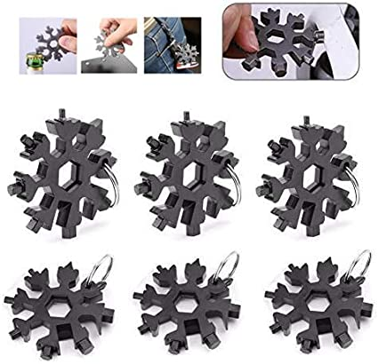 18 In 1 Stainless Multi-Tool Multifunction Snowflake Shape Screwdriver Key Chain