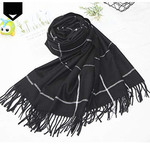 Linghuang dames sjaal geruit kasjmier sjaal dubbeldoel wild dik warm voor de winter grote plafond stof eikel sjaal