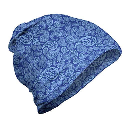 ABAKUHAUS Blue Paisley Unisex Muts, Druppelvormige Folk Art, voor Buiten Wandelen, Perzisch Blauw Blauw baby