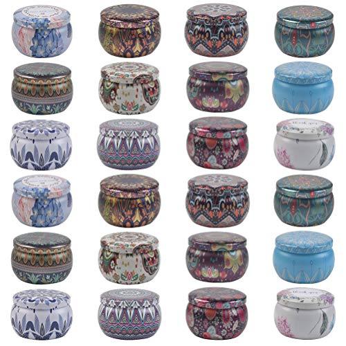 Confezione da 24 contenitori per candela, 113,4 g vuoti, rotondi con coperchio, per candele, per lavori fai da te e fai da te