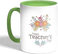 كوب سيراميك للقهوة بطبعة عيد معلم سعيد، لون اخضر