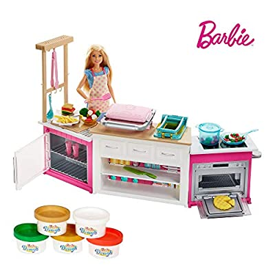 Barbie FRH73 CAREERS Ultimate Kitchen with Doll Playdough, Cooking, Baking Toy for 4 to 9 Years Children Playset, Multi-Colour from Mattel